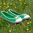 Summer shoes on a green grass with dandelions — Stock Photo