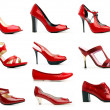 Stock Photo: Range of female vanish red shoes. Isolated on white background
