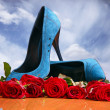 Stock Photo: Composition with red roses and blue female shoes on sky background