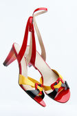 Pair of bright summer female footwear — Stock Photo