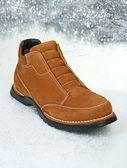 Winter man's brown boot — Stock Photo