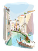 Venetian summer with gondolier — Stock Vector