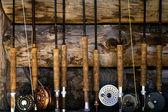 Fly fishing poles — Stock Photo
