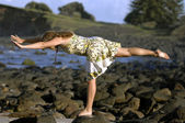 Beach yoga — Stock Photo