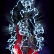 Red electric guitar in lightnings - Stock Photo