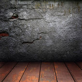 Old wall and wooden floor — Stock Photo