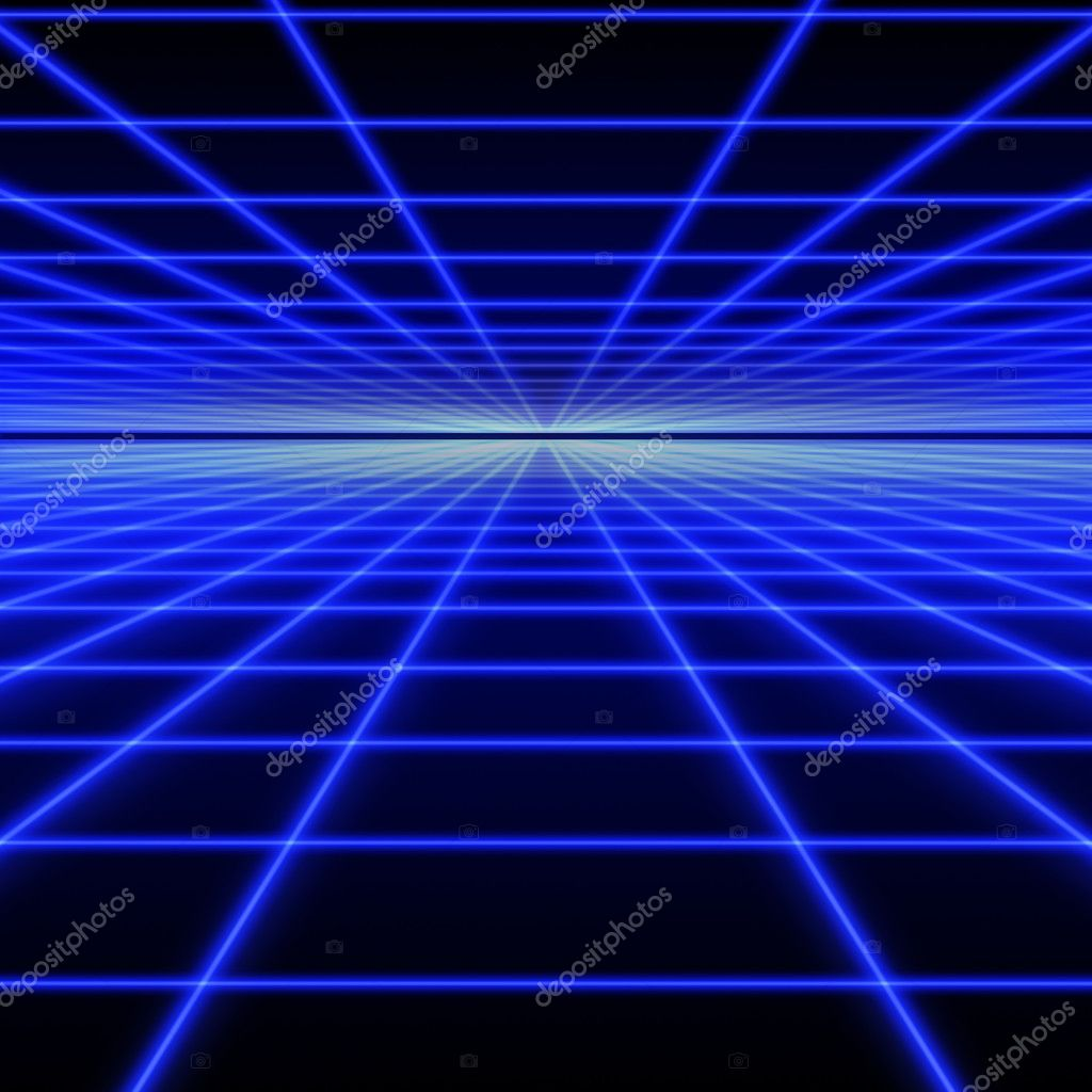 Perspective grid of blue luminous rays on black background — Stock Photo #3610522