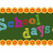 "Stock Photo: School days"" colorful theme, isolated on white background"