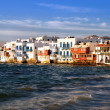 Mykonos view of Little Venice on sunset — Stock Photo