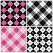 Argyle-Plaid Pattern in Magenta, Black and White - Stock Vector