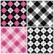 Argyle-plaid patroon in magenta, zwart en wit — Stockvector