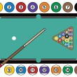 Billiards Table and Equipment - Stock Vector