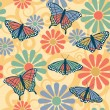 Royalty-Free Stock Vector Image: Butterfly Flower Pattern