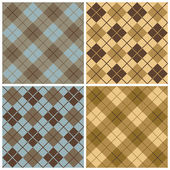 Argyle-Plaid Pattern in Blue, Taupe and Gold — Stock Vector