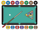 Billiards Table and Equipment — Stock Vector