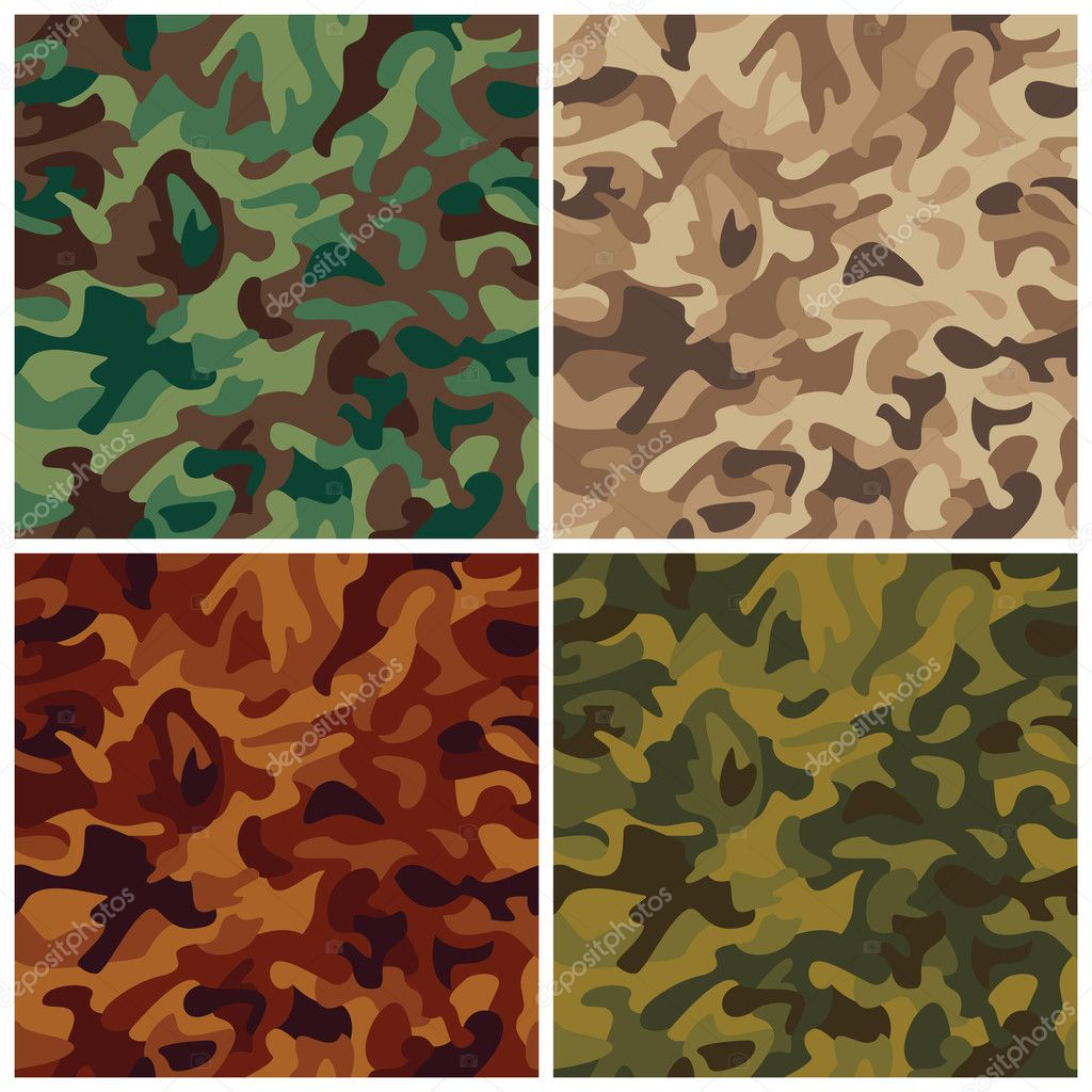 A classic seamless vector camouflage pattern in four colorways. — Stock Vector #3571169