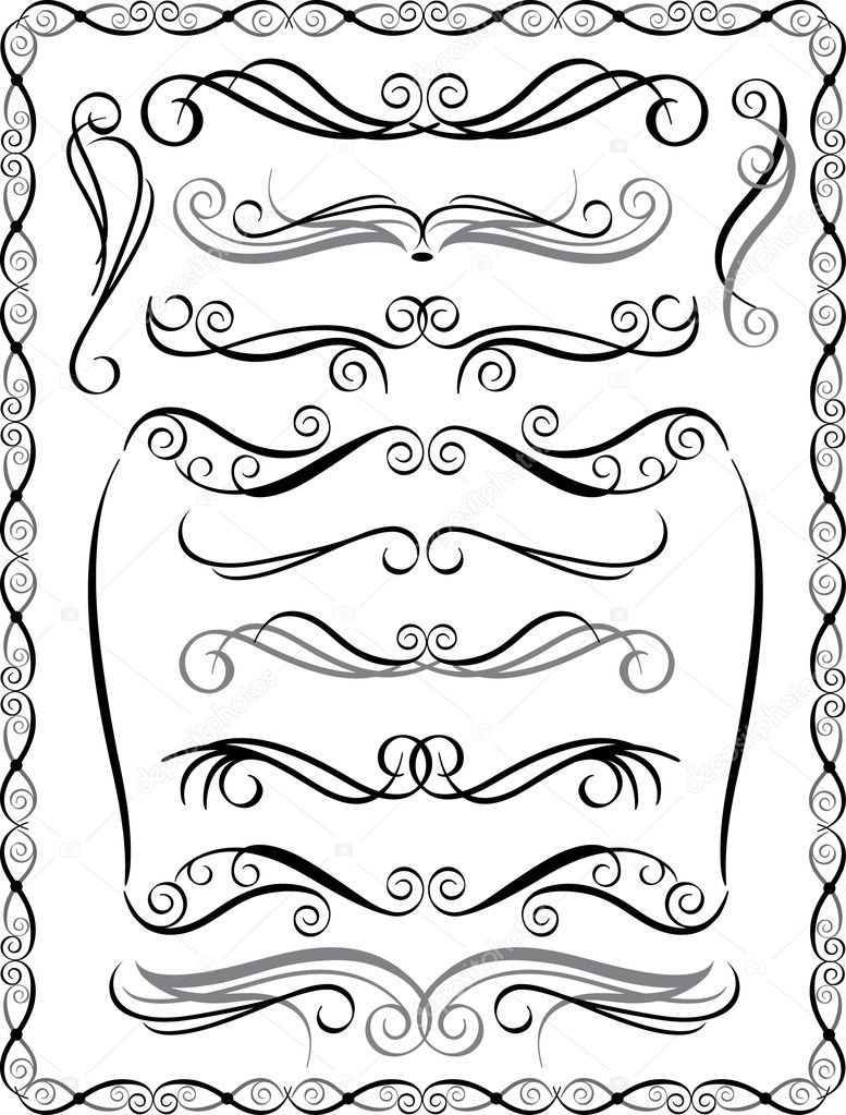 Collection #2 of decorative borders and dividers. — Stock Vector #3571190
