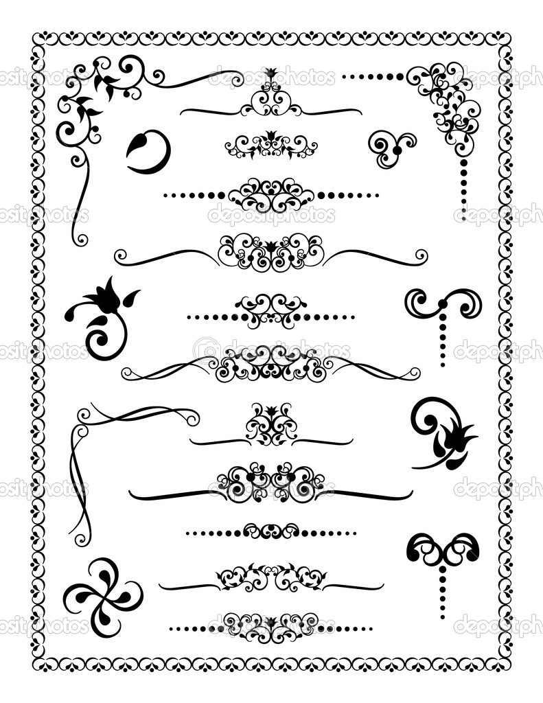 Collection #2 of decorative borders, dividers and ornaments. — Stock Vector #3571195