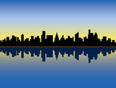 Skyline van de stad bij zonsopgang — Stockvector