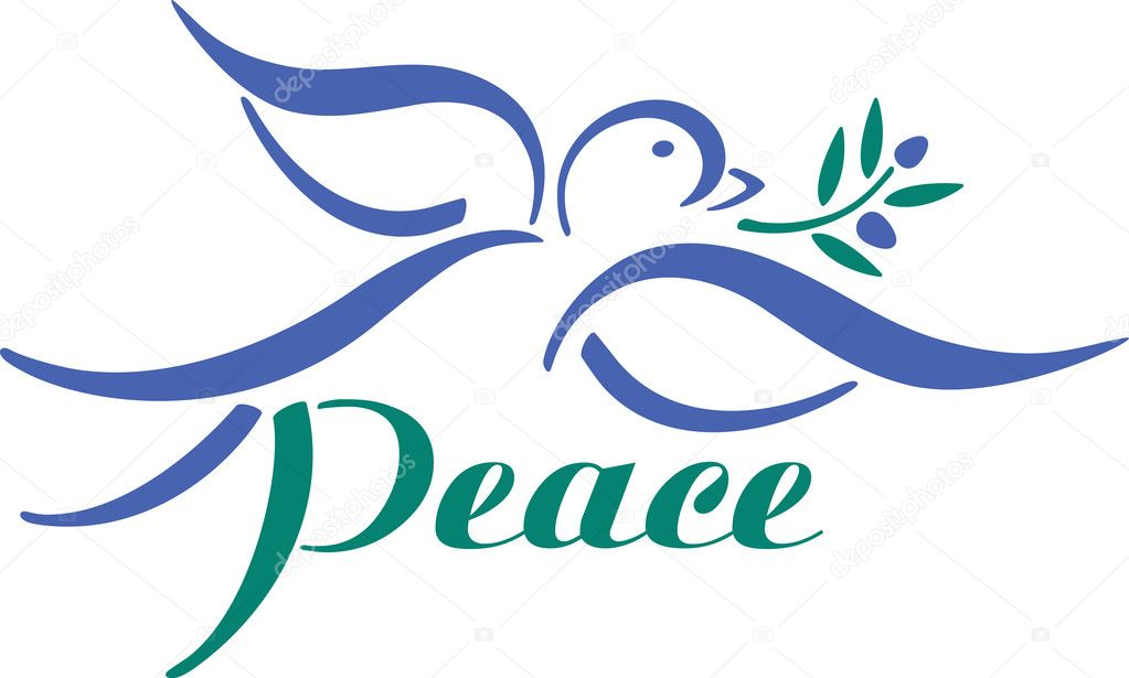 Vector dove with olive branch and word peace.  Vektorgrafik #3592054