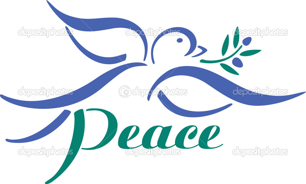Vector dove with olive branch and word peace. — Stockvectorbeeld #3592054