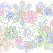 Flowers and Scrolls Background - Stock Vector