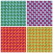 Stock Vector: Pixel Houndstooth Patterns in Retro Brights