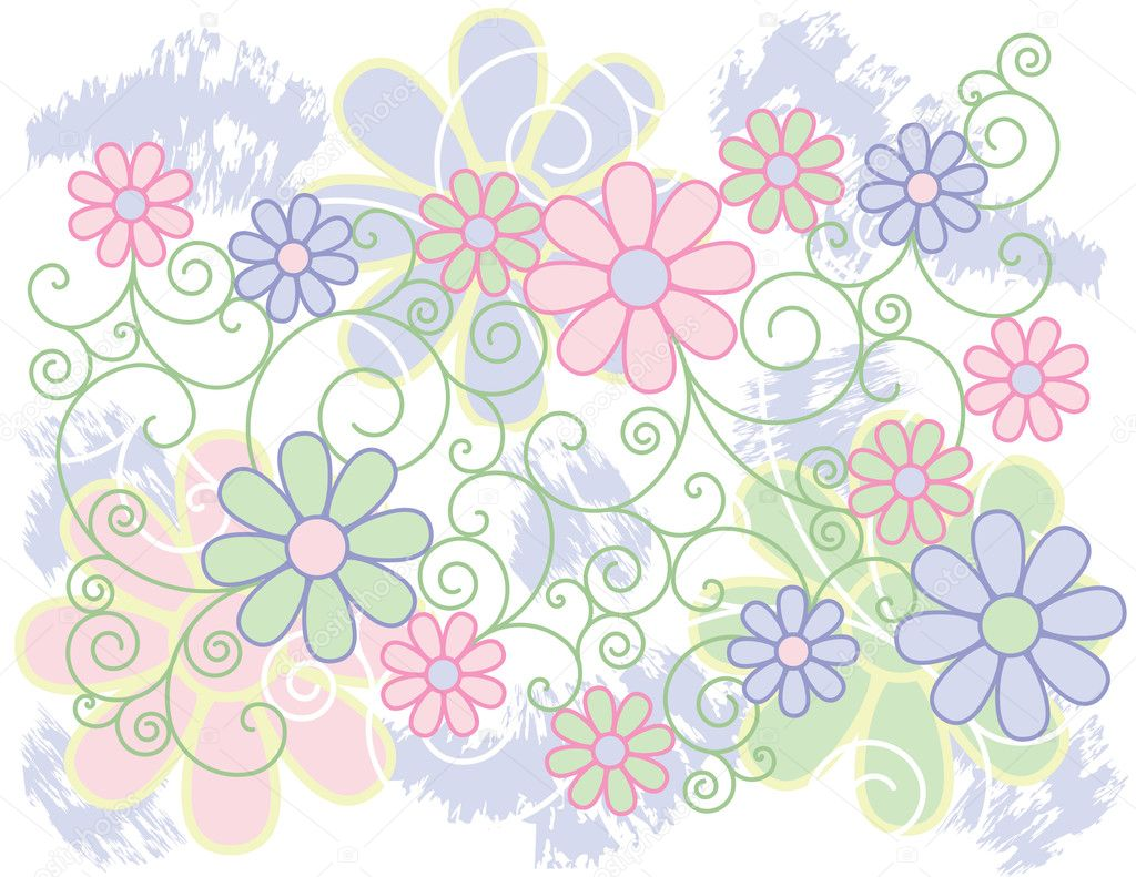 Vector background of stylized flowers with a scroll design in pastel colors. — Stock Vector #3602730