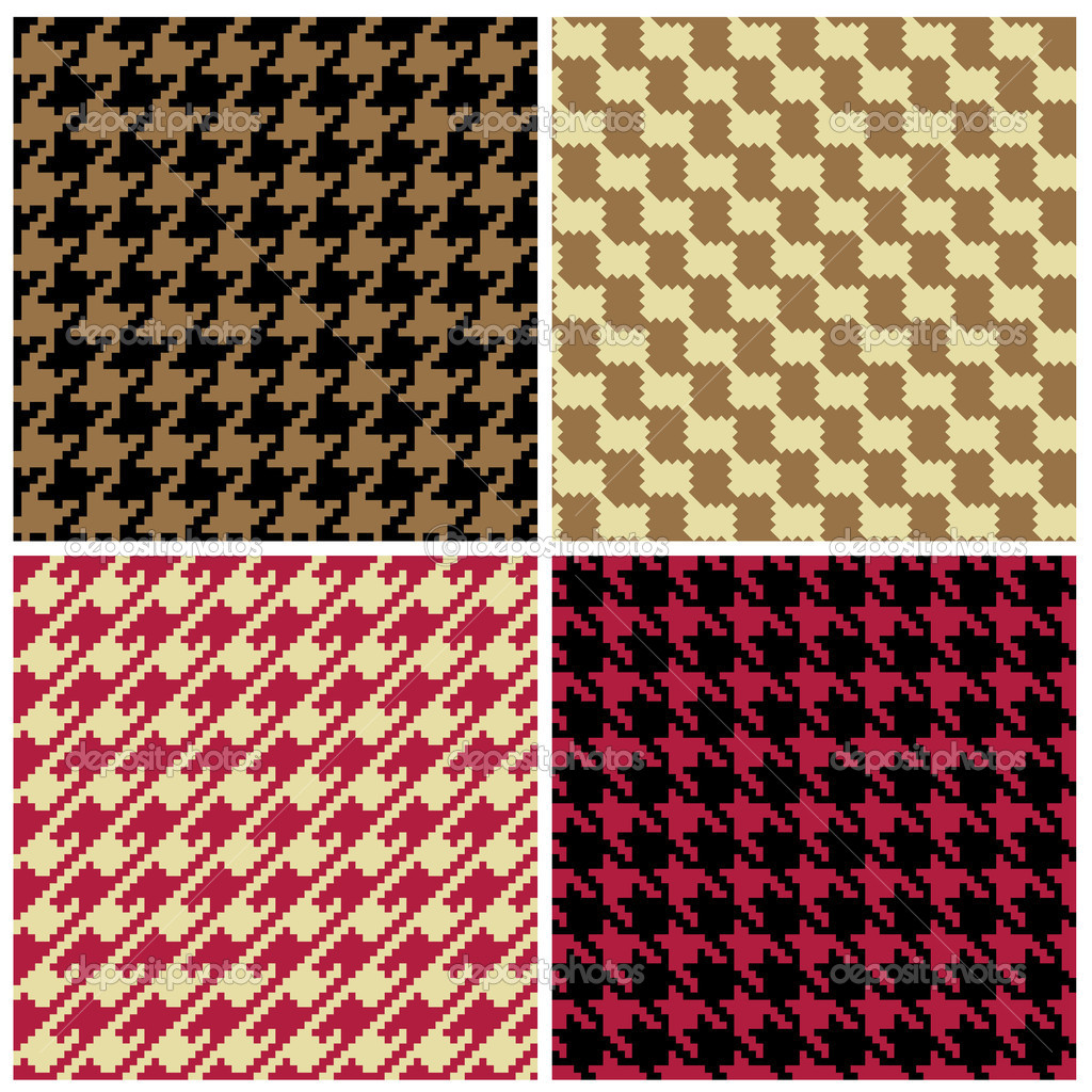 Four pixel houndstooth patterns in classic colors. — Stock Vector #3602818