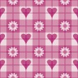 Hearts and Flowers Plaid Pattern — Stock Vector