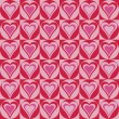 Hearts Background in Red and Pink - Stok Vektr