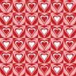 Hearts Background in Red and White - Stok Vektr