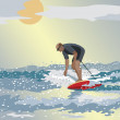 Middle Age Surfer - Stock Vector