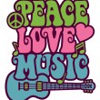 Peace Love Music — Stock Vector