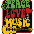 Peace-Love-Music in Rasta Colors — Imagen vectorial