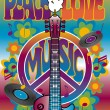Peace-Love-Music — Vector de stock