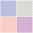 Pixel Houndstooth Patterns in Pastels — Stock Vector