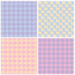 Stock Vector: Pixel Houndstooth Patterns in Pastels