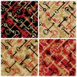 Royalty-Free Stock 矢量图片: Skeleton Keys Pattern in Black, Red and Gold