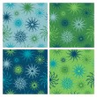 Stock Vector: Sparkle Flower Pattern in Blue-Green
