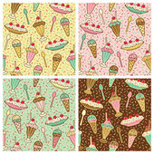 Ice Cream, Cherries And Sprinkles Pattern — Stock Vector