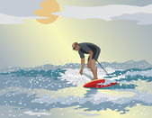 Middle Age Surfer — Vettoriale Stock