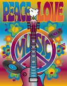 Peace-Love-Music — Stockvektor