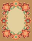 Cornice fiore retrò in arancione — Vettoriale Stock