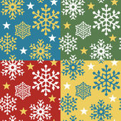 Snowflake Pattern in Four Colorways. — Stock Vector
