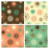 Sparkle Flower Pattern in Green and Salmon — Stock Vector
