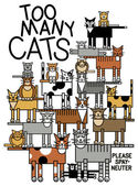 Too Many Cats — Stock Vector