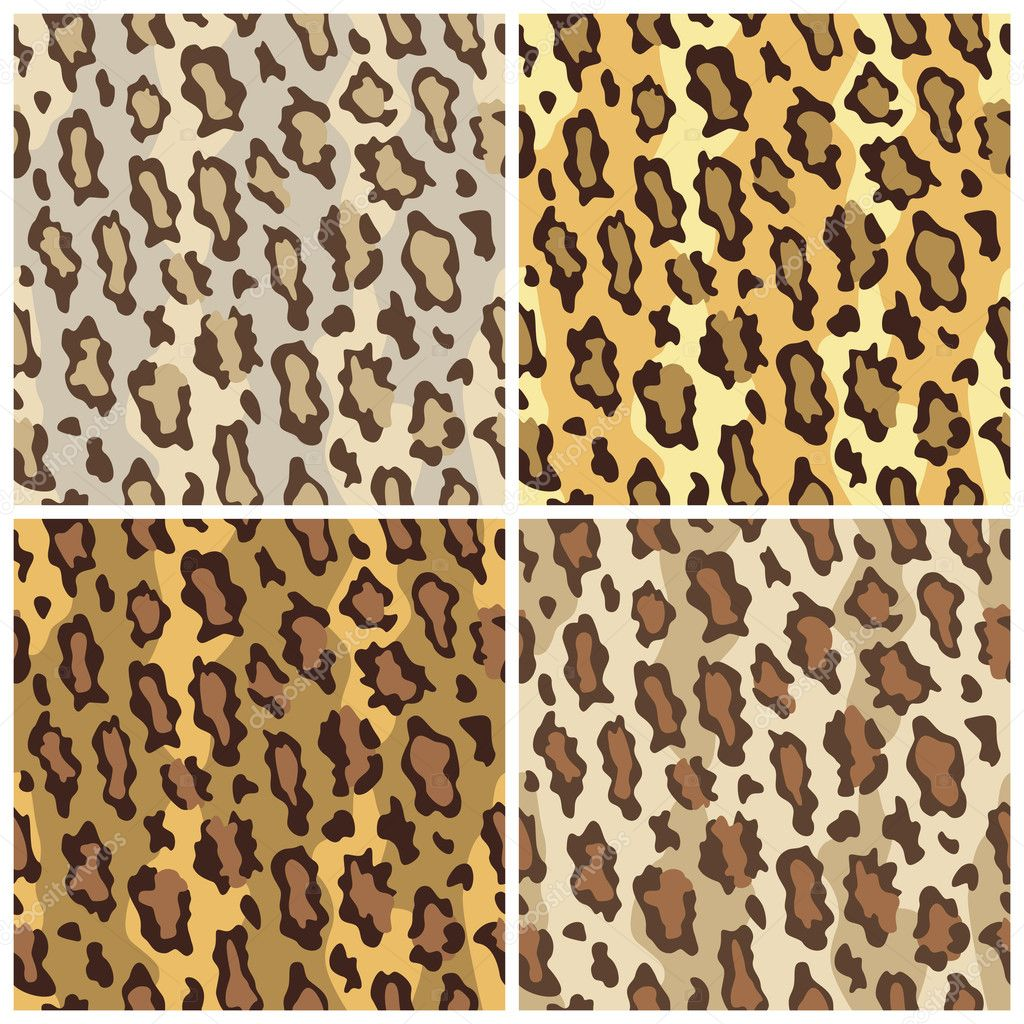 A seamless vector pattern of leopard spots in four colorways. — Stock Vector #3718586