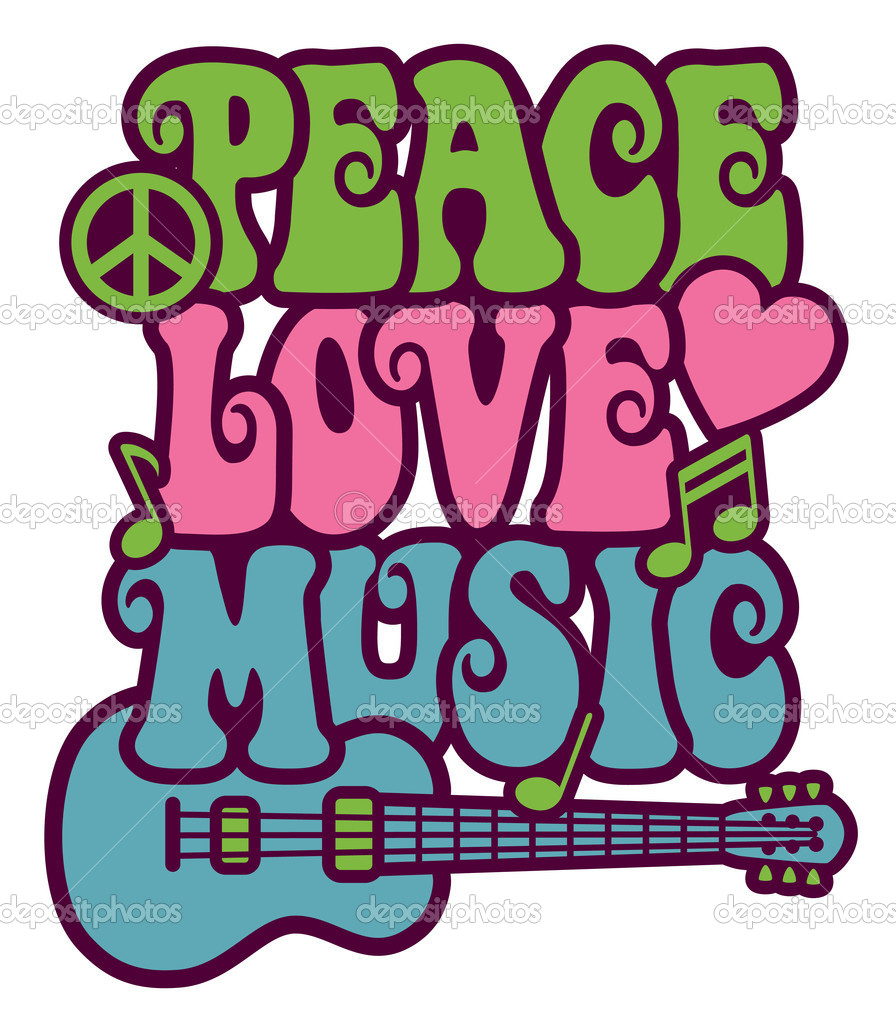Retro-style design of Peace, Love and Music with peace symbol, heart, musical notes and guitar. — Stock Vector #3718699