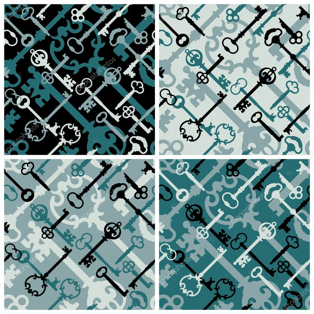 Seamless retro pattern skeleton keys in blues and black. — Stock Vector #3718842
